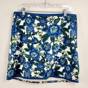 Ann Taylor Floral Print Skirt pockets Piping 12P